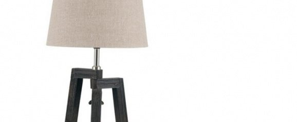 Brushed Brown Tripod Wood Table Lamp