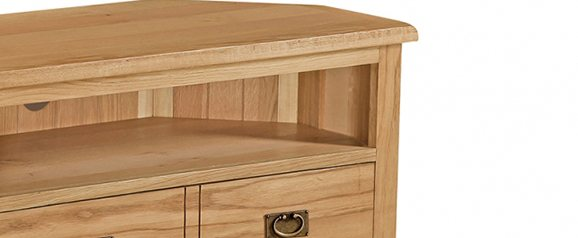Cheltenham Oak Corner TV Unit With Baskets