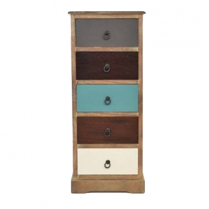 Antigua Driftwood 5 Drawer Tallboy