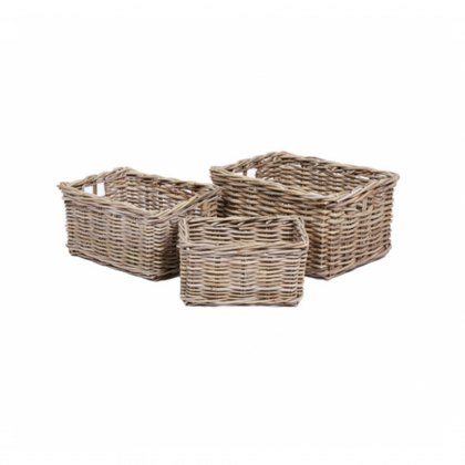 Set of 3 Rectangular Wicker Baskets