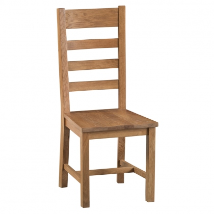 Odessa Oak Ladder Back Chair Wooden Seat