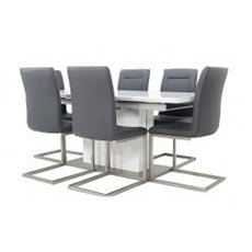 Grand Extending White Gloss Table + 4 Chairs