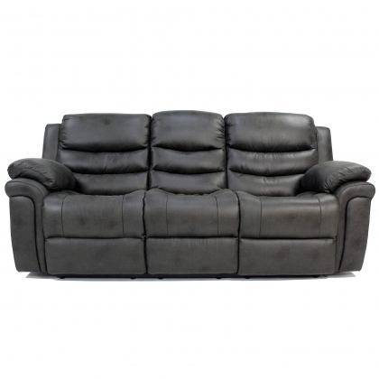 Detroit Grey Fabric 3 Seater Recliner Sofa