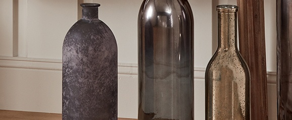 Antique Silver Recycled Glass Rioja Bottle 50cm