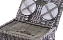 4 Person Extra Deep Wicker Hamper Picnic Set
