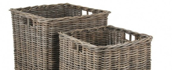 Grey Kubu Set of 2 Large Square Baskets