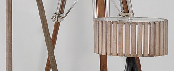 Antique Wood Slat Table Lamp