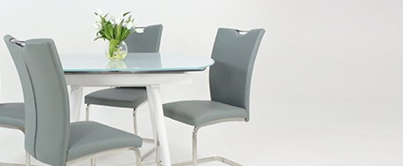 White Twist Dining Table & 4 Grey Opus Chairs
