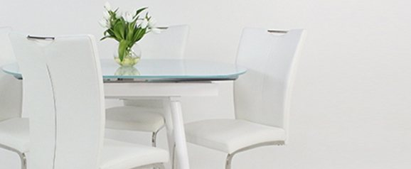 White Twist Dining Table & 4 White Opus Chairs