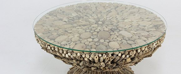 New Horizon Driftwood Round Coffee Table with Glass Top