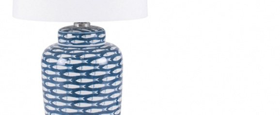 Blue and White Fish Table Lamp