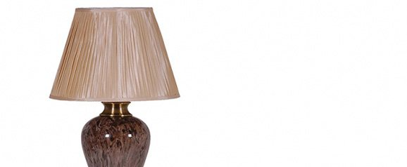 Brown Marble Lamp with Gold Shade