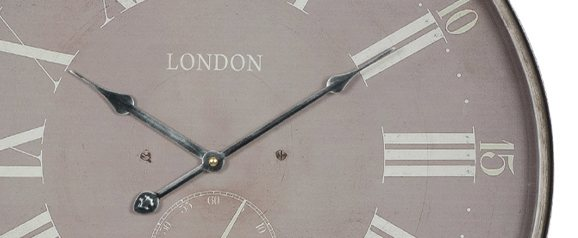 Antique Grey Metal Round Wall Clock