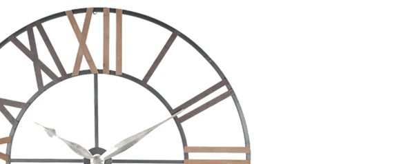 Antique Grey Metal & Wood Round Wall Clock