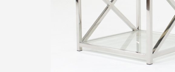 Square Glass/steel End Table