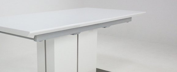 Grand Extending White Gloss Dining Table + 6 Grand Chairs