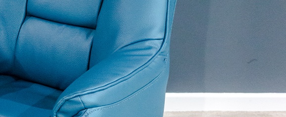 Auckland Blue Swivel Recliner & Stool