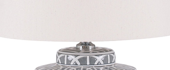 Grey and White Geo Pattern Table Lamp