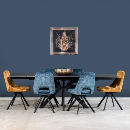 Olympia Ceramic Extending Dining Table - Polished Dark Grey & Rolo Swivel Chairs
