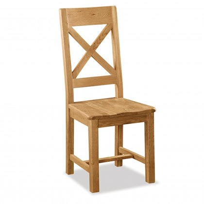 Cheltenham Oak Cross Back Chair With Wooden Seat