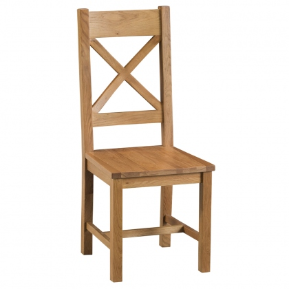 Odessa Oak Cross Back Chair Wood Seat