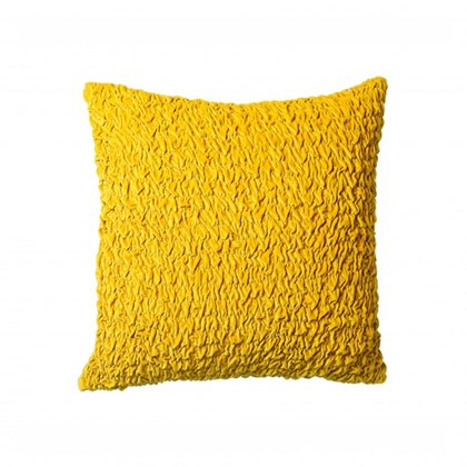 Ochre Ruched Cotton Velvet Cushion