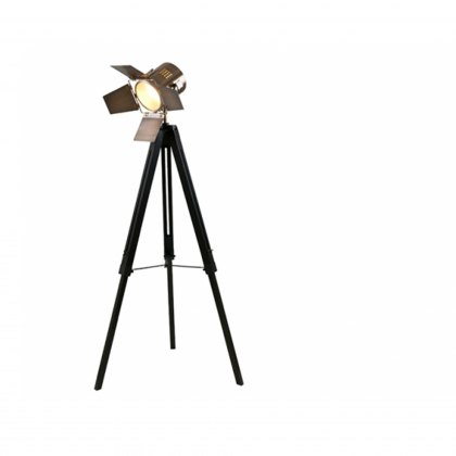 Black Wood Film Light Floor Lamp