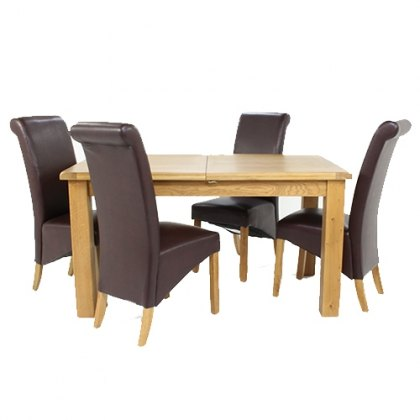 Cheltenham Oak Small Extending Dining Table With 6 Maine Chairs