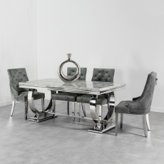 Rhianna 200cm Grey Dining Table & Buckingham Chairs