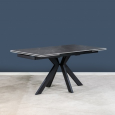Olympia Ceramic 160cm-240cm Extending Dining Table - Polished Dark Grey