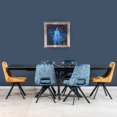 Olympia Ceramic Extending Dining Table - Black & Rolo Swivel Chairs
