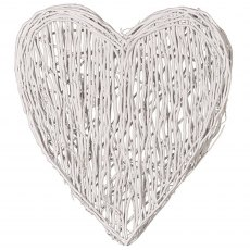 Large White Wicker Heart