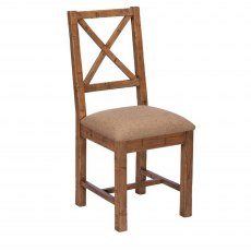 Blake Cross Back Chair Upholstered Seat
