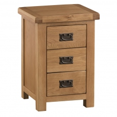 Odessa Oak Large 3 Drawer Bedside Table