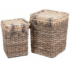 Set of 2 Square Wicker Laundry Baskets