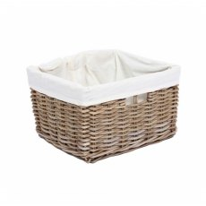 Rectangular Wicker Basket with Hole Handles & Lining
