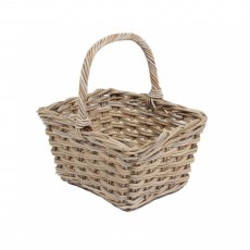 Square Grey Wicker Basket with High Handle