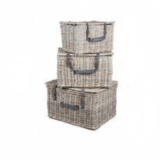 Set of 3 Rectangular Grey Wicker Trunks