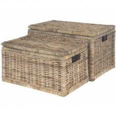 Grey Kubu Set of 2 Wicker Chests