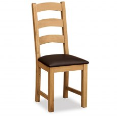 Surrey Oak Ladder Chair With Brown PU