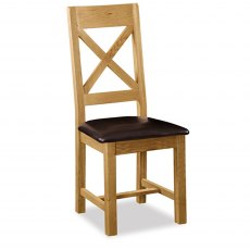 Cheltenham Oak Cross Back Chair With Pu Seat