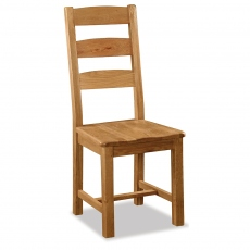 Cheltenham Oak Slatted Chair With Wooden Seat
