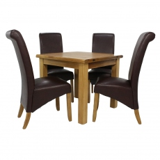 Surrey Oak Compact Square Extending table Set With 4 Maine Chairs