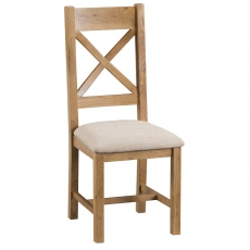 Odessa Oak Cross Back Chair Fabric Seat