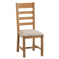 Odessa Oak Ladder Back Chair Fabric Seat