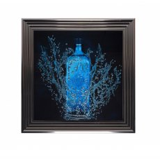 Blue Gin Liquid Artwork with Swarovski Crystals