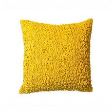 Ochre Ruched Velvet Cushion