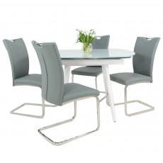 White Twist Dining Table & 4 Opus Chairs