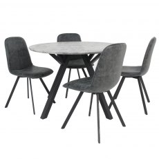 Tetris Set Round Dining & 4 Chairs