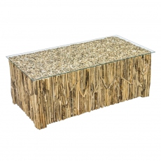 New Horizon Driftwood Rectangular Coffee Table with Glass Top